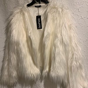 Boohoo Jackets & Coats - White fur coat